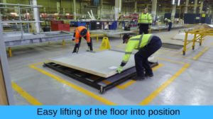 Easy lifting floor into position