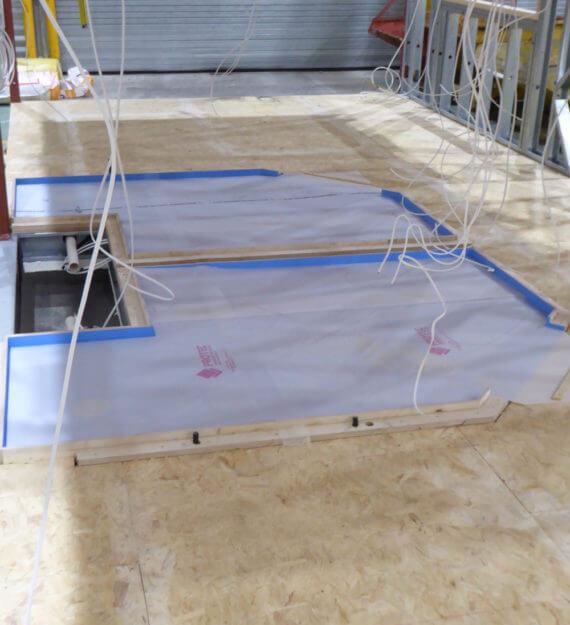 Modular floor before walls